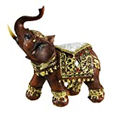 Crackle Glass Good Luck Trunk Up Elephant Statue Figurine Collectible 6''
