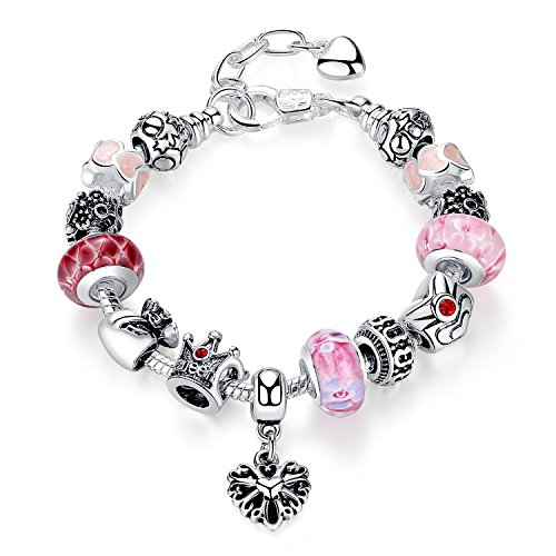 (Bamoer Fashion European Red Queen 925 Sterling Silver Glass Bead Heart Dangle Link Charm Bracelet for Women Girls 20cm 7.87
