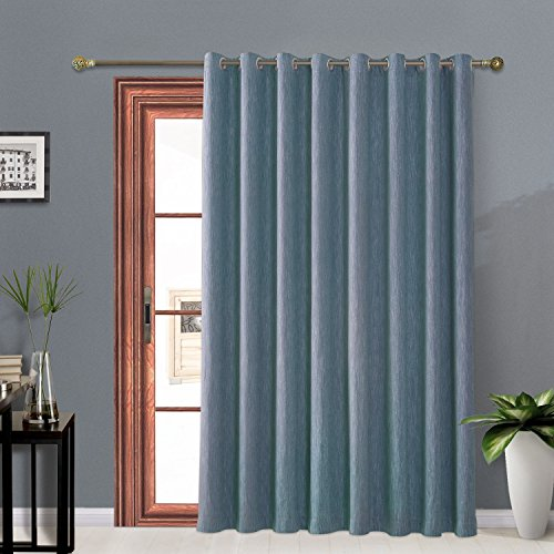 Sliding Panel Top (Melodieux Elegant Cotton Blackout Thermal Insulated Grommet Top Curtains/Drapes for Bedroom, 100 by 84 Inch, Navy)