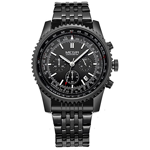 Voeons Mens Watches Chronograph Military Sports Watch Black Stainless Steel Wristwatch