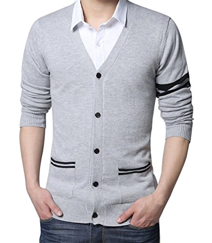 d3a3afce25242 Lyamazing Mens Slim Fit V-Neck Button Up Cardigan Sweater