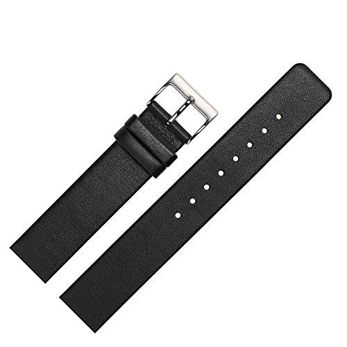 Uhrenarmband 22mm Leder glatt schwarz - Ersatzband angepasst für Skagen Uhren mit Spezialanstoß (verschraubte Gehäuse) - schlichtes Marburger Uhrband passend für Uhren von Skagen - schwarz / silber