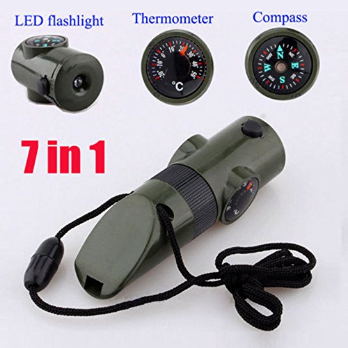 [MAZIMARK--7 in 1 Military Emergency Whistle Survival Kit Compass LED Light Thermomet] (Different Barbie Costume Ideas)