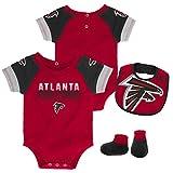 NFL by Outerstuff NFL Atlanta Falcons Newborn & Infant 50 Yard Dash Bodysuit, Bib & Bootie Set Crimson, 18 Months