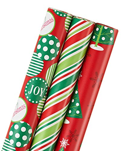 American Greetings Christmas Wrapping Paper, Colorful Stripe