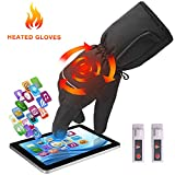 Greensha Rechargeable Electric Battery Heated Gloves for Men&Women,Outdoor Indoor battery powered Hand Warmer,Novelty Thermal Gloves for Hiking Skiing Cyclingg (Black, Rechargeable Li-ion Battery)