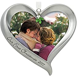 Hallmark Keepsake - Our First Christmas Loving Heart Picture Frame Dated Christmas Ornament