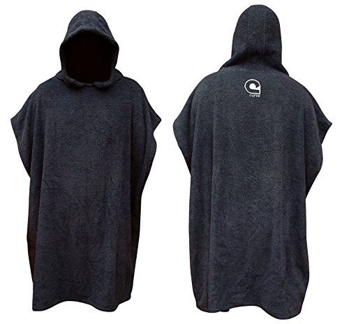 Poncho Changing Robe / Change Robe - Quick-Dry MICROFIBER - Adjustable Sleeves [CHOOSE COLOR] Adult Size (Black) (Beach Adult Towels)