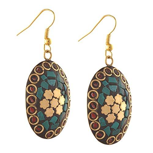 (Zephyrr Fashion Dangling Hook Tibetan Style Earrings Handmade for Women)