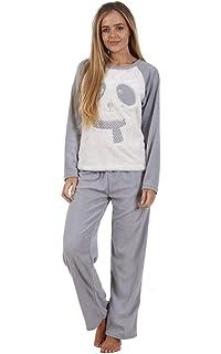 92398a0d71 Ladies Pyjama Set Cable Design Flannel Fleece Long Sleeve Winter ...