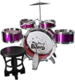 Musical Jazz Drum Set Rock Kids Percussion Instrument Kit - Red