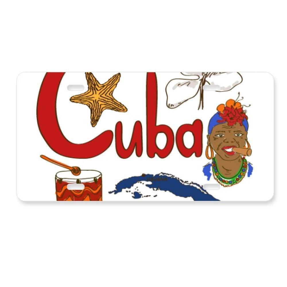 Cuba National symbol Landmark Pattern License Plate Car Decoration Stainless Steel Accessory