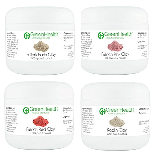 Greenhealth- Clay Sampler Set- 1.5 ml oz - French Pink, French Red, Fuller's Earth, Kaolin- 100% Pure & Natural- Set of 4 -