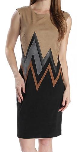 Joseph Ribkoff Beige & Black Faux Suede Zig Zag Pattern Dress Style 164445