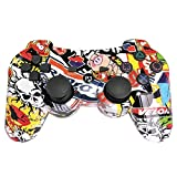 PS3 Controller Wireless Gamepad 6 Axis Dualshock 3 Game Remote Control Joystick for PlayStation 3 with Charging Cable (Cartoon color mixing)