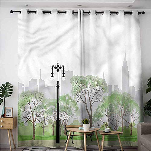 - XXANS Simple Curtains,New York,Central Park Scene Bench,Insulated with Grommet Curtains for Bedroom,W84x72L