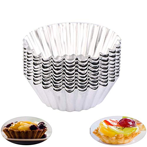 OBTANIM 20 Pcs Stainless Steel Mini Tart/Pie Pans, 3 Inch Small Tart/Pie Pan Portuguese Tart Baking Mold Mini Tart/Pie Tins for Baking Supplies