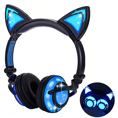 Adjustable Overhead Headphones (Qiwoo Kids Headphones with Cat Ear USB Rechargeable Adjustable LED Light Up Wired Over Ear Headphones 85dB Volume Limited Compatible for iPad Tablet for Kids Girls Boys Birthday Gift (1-Black))
