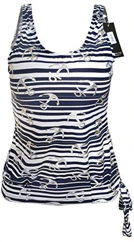 Gabrielle-Aug Women's Sailor Nautical Blouson Tankini Top Swimsuit(FBA) (20, Navy)