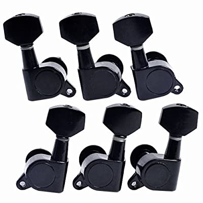 6pcs 3R3L Acoustic Guitar Tuning Pegs Machine Head Tuners BLACK Guitar Parts
