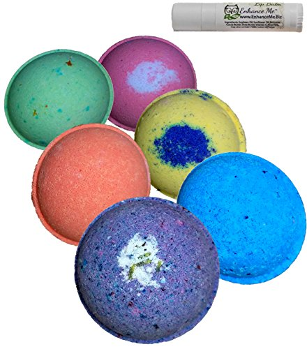 Vegan Bath Bomb Gift Set, w/FREE Lip Balm, Natural Aromatherapy Essential Oils, Organic Coconut Oil, Handmade in USA with by Enhance Me, 'See, Smell, & Feel the Difference'