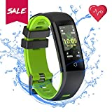 READ Fitness Tracker Blood Pressure Heart Rate Sleep&Monitor G16 Health Tracker Step Distance Calories Counter pedometer IP67 Waterproof Smart watch Call SMS SNS Remind Watch for Android IOS (green)