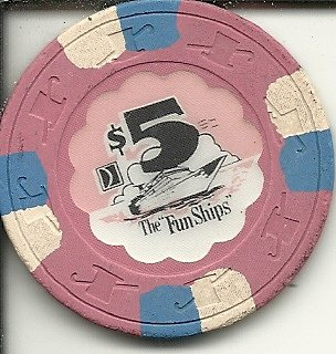 $5 the fun ships carnival line cruises at sea casino cruise chip obsolete rare