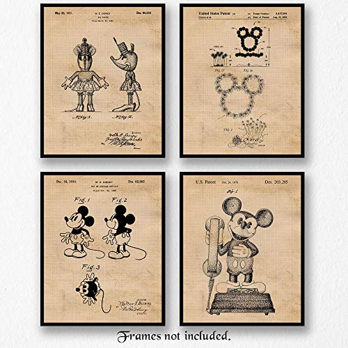 Original Mickey & Minnie Mouse Vintage Style Patent Art Poster Prints - Set of 4 Photos - 8x10 Unframed - Great Wall Art Decor Gifts Under $20 for Walt Disney fan, teacher, home, office, showroom -