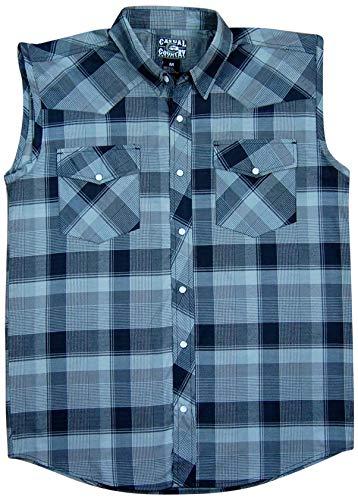(Men's Classic Plaid Sleeveless Western Shirt | Snap-Front (X-Large, Black (38)))