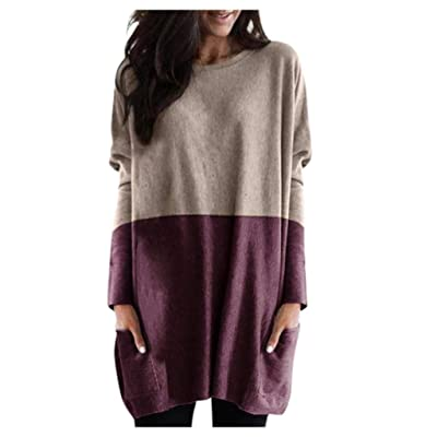 Sttech1 Women's Casual Loose Dress Tunic Sweatshirt Patchwork Long Sleeves Crewneck Pullover Blouse Tops with Pocket: Clothing