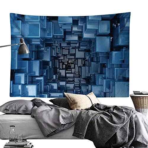 Maureen Austin Hippie Art Tapestry,Abstract,Digital Stylized Dimensional Square Shaped Cubes Glossy Geometric Style Cluster Print,Blue Wall Hanging for Dorm Living Room Bedroom60 x80