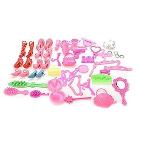 50 Pcs Doll Accessories Shoes Bag Mirror Hanger Comb Bracelet For Barbie Dolls