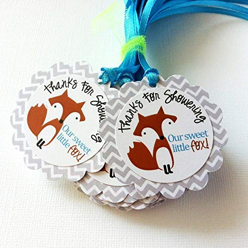 - Thanks for Showering Our Sweet Little Fox Favor Gift Tags for Baby Shower Party Celebration - Set of 12
