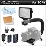 10-Piece Pro 120 LED Dimmable On-Camera LED Video Light Kit with Battery, Charger, Diffusers & Case + Pro Camera Action Stabilizing Handle For Sony Alpha a7 a58, a65, a77, a99, SLT-A58K, SLT-A65V, SLT-A65VK, SLT-A77V, SLT-A77VM, SLT-A77VQ, SLT-A99V DSLR