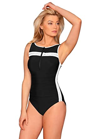 5f23c02056a Miraclesuit White Zip Up High Neck One Piece Swimsuit at Amazon ...