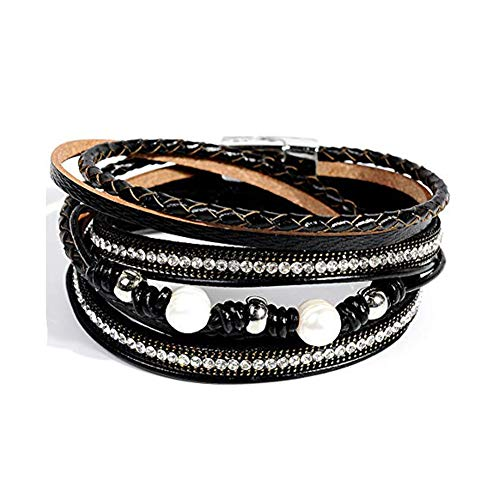 Artilady Shinning wrap Clasp Bangle for Women (Black with Pearl)