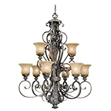 Vaxcel USA BGCHU009PZ Bellagio 9 Light Traditional Chandelier Lighting Fixture in Bronze, Glass