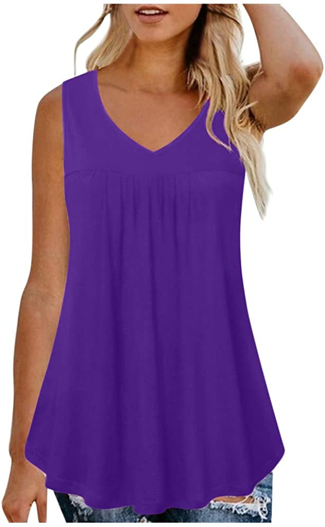 COOKI/_Tank Tops for Women Plus Size Sleeveless Solid Color V Neck T Shirt Summer Fashion Casual Loose Shirt Tunic Top Blouses