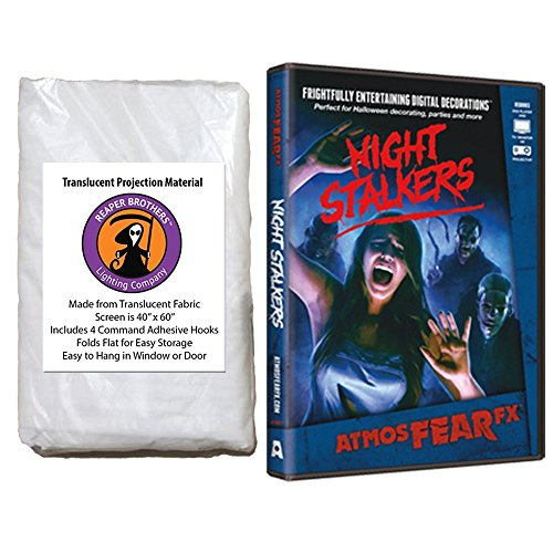 Kringle Bros AtmosFearFX Night Stalkers Halloween DVD and Reaper Brothers High Resolution Window Projection Screen -