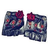 TWO L Women Punk Rivets Belt Up Half Finger PU Leather Performance Gloves (Rose)