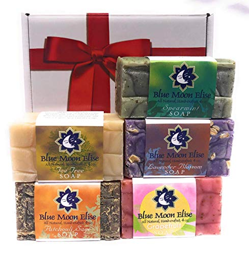 BMe All Natural Handmade Bar Soap Set 5 Bar Gift Set of Cold Processed Soaps with Pure Essential Oils of tea tree, grapefruit, lavender, patchouli, and rosemary mint.