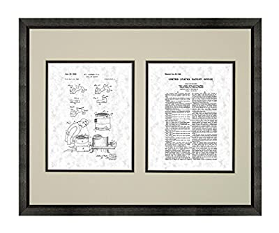 Chain Saw Machine Patent Art Print in a Beveled Black Wood Frame with a Double Mat M14274