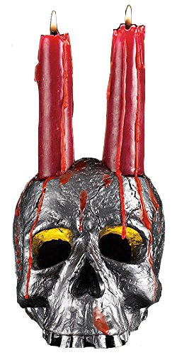 Bloody Halloween Skull and Red Candles