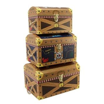 Tri Coastal Design Pirate Treasure Set 3 Nested Domed Trunks Amazon