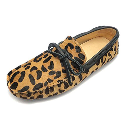 Fulinken MEN Leopard Haircalf Leather Comfort Slip Ons Loafers Driving Car Shoes (6.5 D(M) US, Tie front leopard) (Pebbles Halloween Hair)