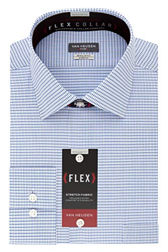 Van Heusen Men's Dress Shirt Regular Fit Flex Collar Stretch Check, Blueberry, 17
