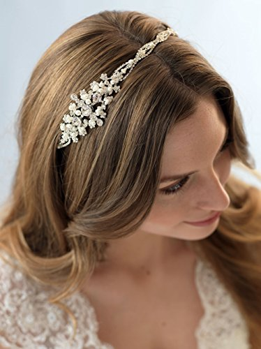 USABride Elegant Rhinestone and Simulated Pearl Bridal Side Headband 3135