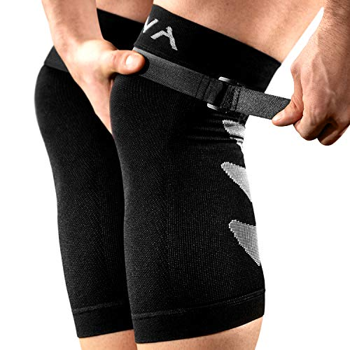 Mava Sports Compression Knee Sleeve (Pair) with Adjustable Strap -Does NOT ROLL Down- Best Knee Brace – Knee Support for Weightlifting, Workout, Running, Joint Pain & Arthritis, Hiking, Men & Women