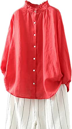 Mordenmiss Women's Button Down Shirts Long Sleeve Linen Tops Loose Casual Blouses