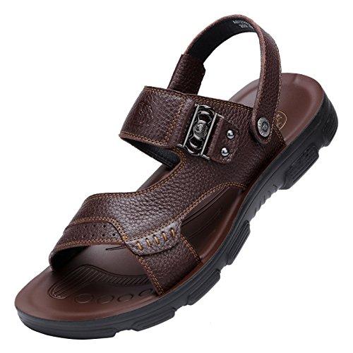 Camel Men's Summer Leather Slip-on Sandals Beach Waterproof Shoes for Men Outdoors Walking, Brown 270mm